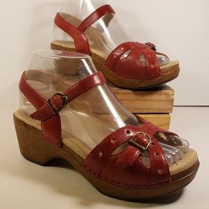Dansko Sissy Red Leather Sandals Size 36 6US